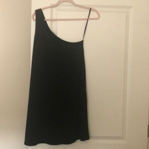 BCBG black one shoulder dress- never worn. PERFECT